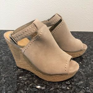 Marc Fisher suede wedge espadrilles